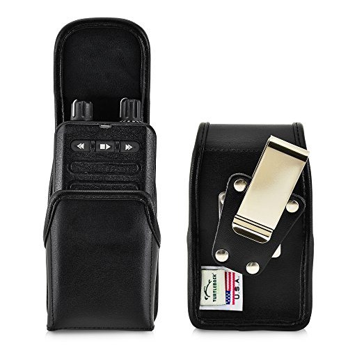 Tone Flap Two (Turtleback Case made for Motorola Minitor VI (6) Voice Pager Fire Radio Two-Tone Voice Pager‎ Radio Black Leather Pouch Holster Case with Heavy Duty Rotating Belt Clip, Magnetic Closure Flap)
