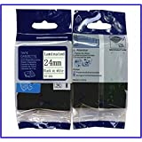 24mm Laminated Tze-251 Tze 251 Tze251 Self-Adhesive Tze Tape Compatible For Brother Ptouch Labeller Tape Black on White Tz251 Tz-251 Tz 251 by JD