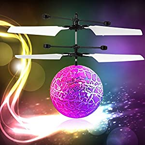 Flying Ball, YKS Children Flying Toys, RC infrared Induction Helicopter Ball Built-in Shinning Color Changing LED Lighting for Kids, Teenagers (White)