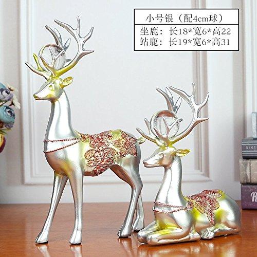 Milu deer animal ornaments living room home antique shelf, resin deer decorative crafts,Silver (4cm ball)