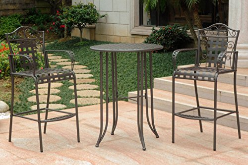 International Caravan 3-Pc Bar-Height Patio Bistro Set
