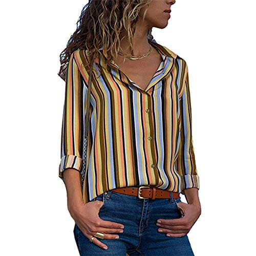 Chemises JackenLOVE Tops Chemisiers Printemps Revers Hauts Casual Automne Tee Patchwork Blouse Longues Manches Femmes Shirts Raye Mode RnSR0qO