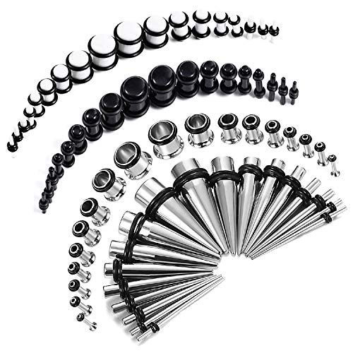 BodyJ4You 72PC Gauges Kit Black White Acrylic Plugs Stainless Steel Tapers 14G-00G Stretching Set