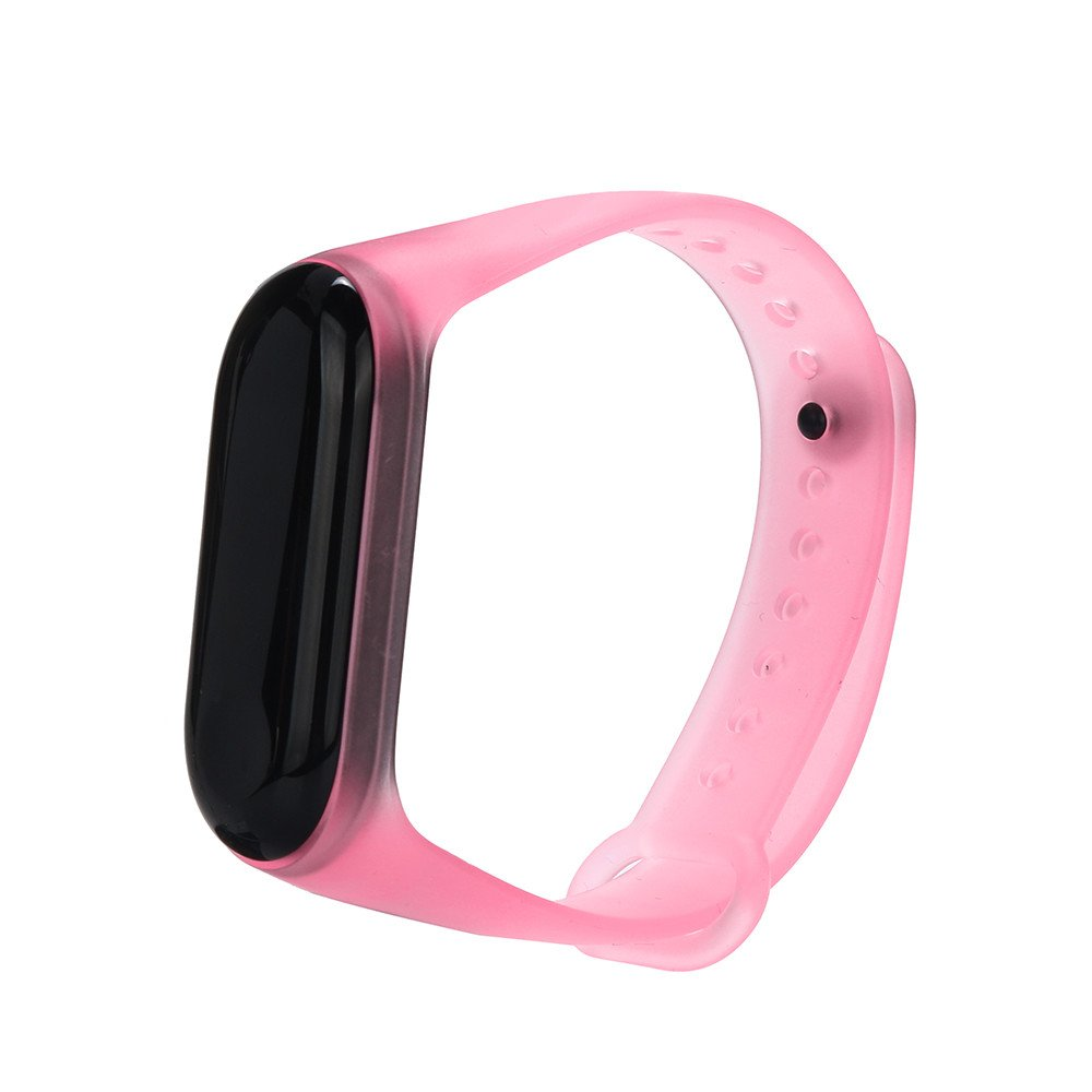 Ugood_ 2019 Transparent Silicone Replacement Wristband Wrist Strap for XiaoMi mi Band 3 (Pink)