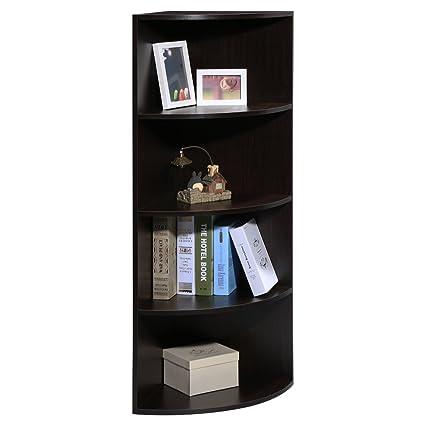 Bon LANGRIA 5 Tier Corner Shelf Bookcase Multipurpose Freestanding Modular  Shelving, Round End Shelves,