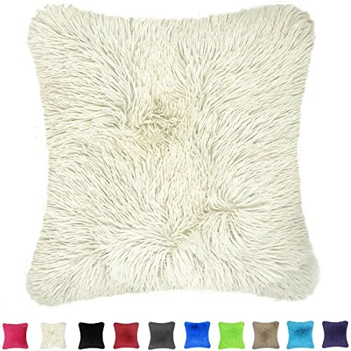 Throw it Super Silky Soft Faux Fur Square Throw Pillow Case Cover 18