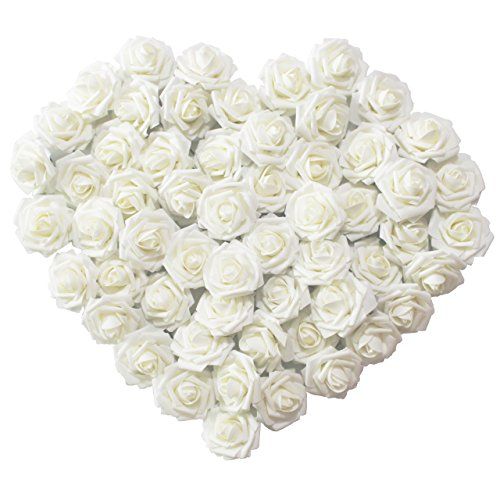 Artificial Flowers 50pcs Ivory Real Looking Artificial Roses for Wedding Bouquets Centerpieces Bridal Party Baby Shower Decorations (Bridal Bouquet Decoration)