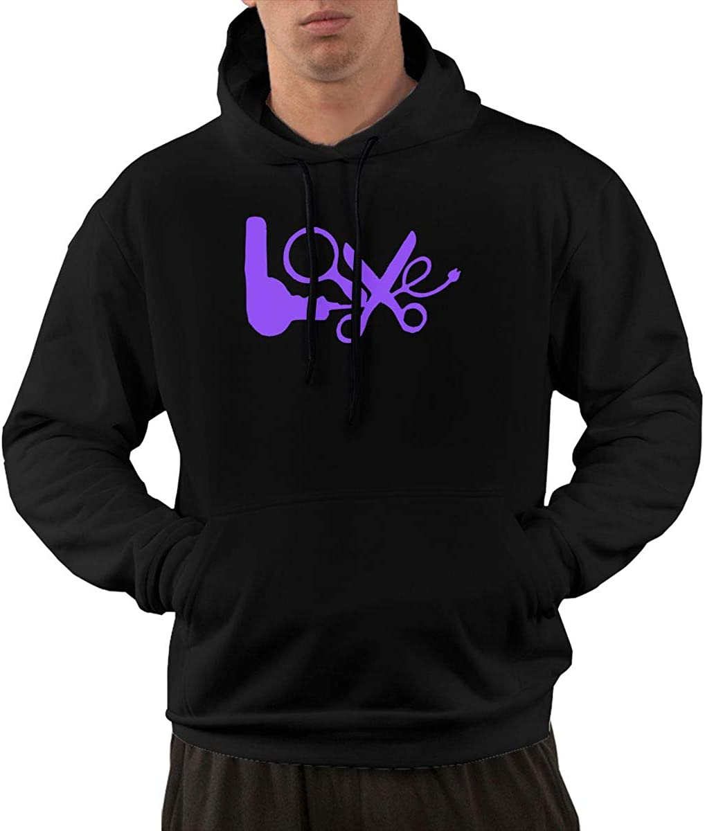 Winter 100/% Cotton Sports Pullover with Pocket for Men Men Love Hair Stylist Pullover Hoodie