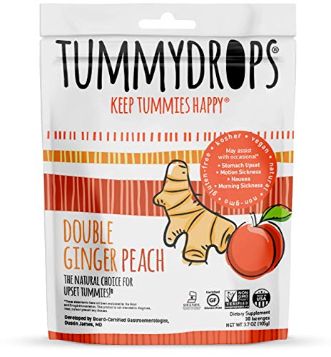 Non-GMO Project Verified Double Ginger Peach Tummydrops 30 Count