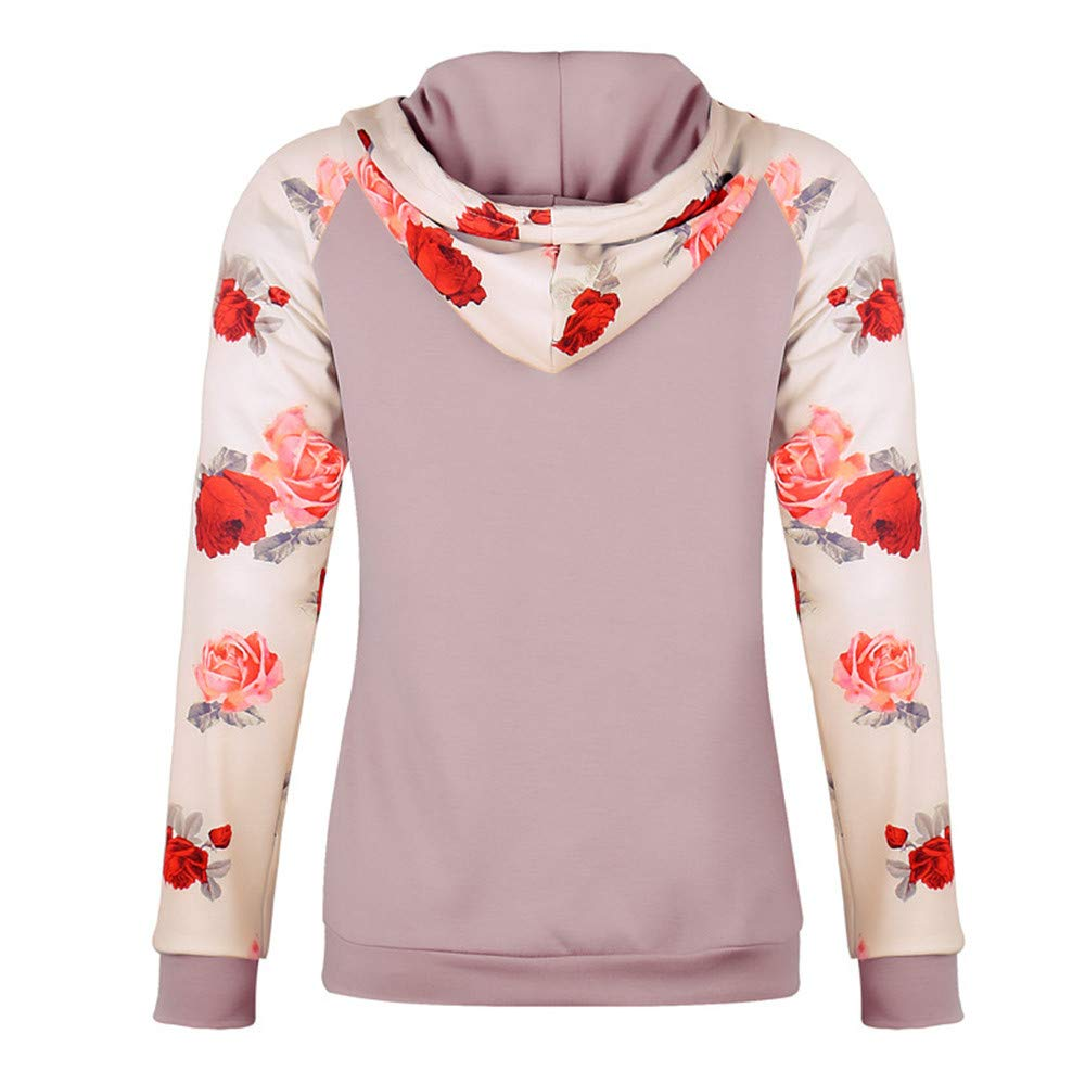 Rambling Women's Casual Long Sleeve Raglan Casual Floral Print Drawstring Pullover Top Blouse with Kangaroo Pocket by Rambling (Image #3)
