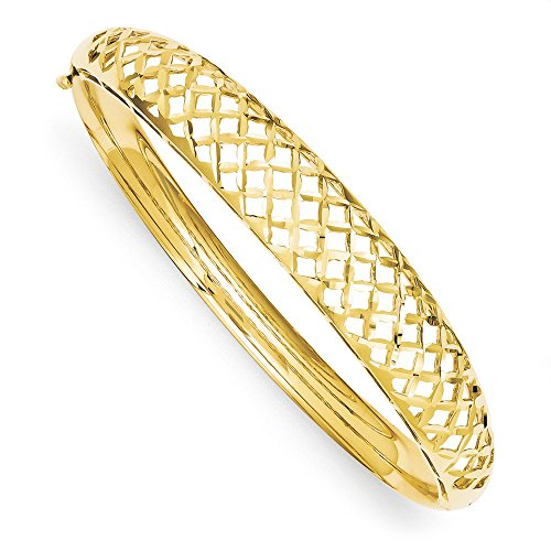 14k Yellow Gold Diamond Cut Graduated Weave Hinged Bangle Bracelet - 14k Yellow Gold Basketweave Bracelet