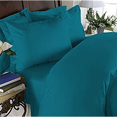 Elegant Comfort 4 Piece 1500 Thread Count Luxury Silky Soft Egyptian Quality Coziest Sheet Set, Queen, Teal Blue