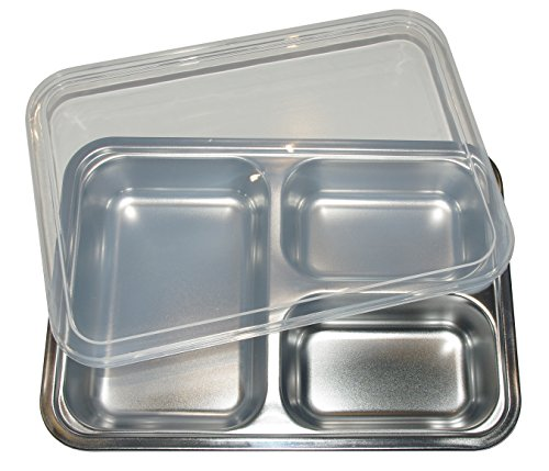 Stainless Steel Lunch Box with 3 Compartments - Eco Friendly Bento Container with a Complimentary BPA Free Plastic Lid for Kids and Adults