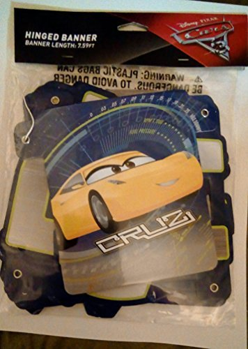 American Greetings Cars 3 Birthday Banner (Cars Banner Sign)