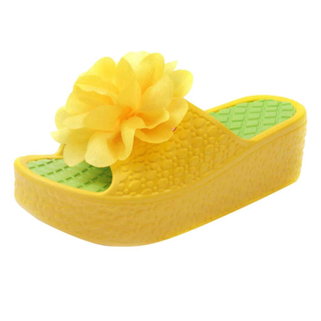 Women Platform Slide Sandals, Girls Fashion Summer Flower Slip-On Slipper Ladies Comfy Thick Soles Flip-Flops