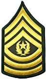 U.S. Army Sergeant E-9 Major Rank Stripe Army Uniform Chevrons Sew on Iron on Arm Shoulder Embroidered Applique Patch - Gold on Green - By Ranger Return (IRON-E9)