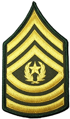 Papapatch U.S. Army Sergeant E-9 Major Rank Chevrons Stripes Uniform Sew on Iron on Arm Shoulder Applique Embroidered Patch - Gold on Green (1 Piece) ()
