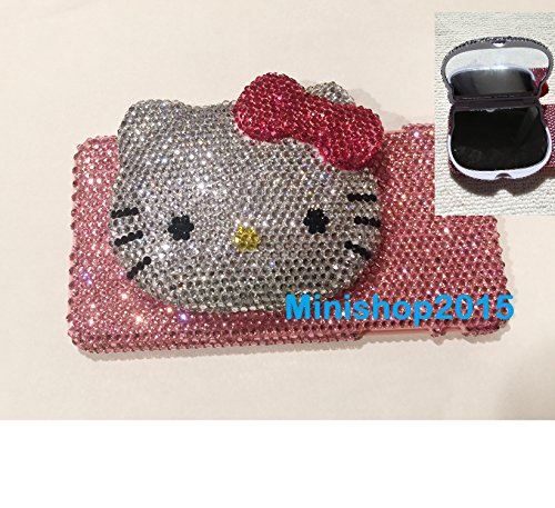 Fits Both iPhone Xs MAX Hello Kitty Mirror (Hot Pink Bow) Crystals Diamond case Cover Bling Bling USA sellerFree Screen Protector (Hot Pink)