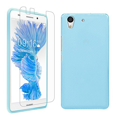 Price comparison product image Gzerma for Huawei Y6 II Case and Screen Protector, Slim Fit Flexible TPU Full Protection Cover and Easy to Install Protective Film for Huawei Y6II (Blue)