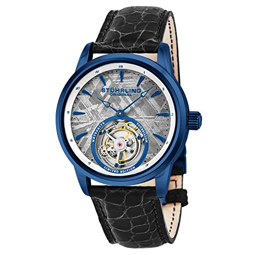 Gold Metal Carriage Clock - Stuhrling Original Mens Mechanical Tourbillon Watch, Grey Meteorite Dial, Sapphire Crystal, Stainless Steel, Genuine Alligator Leather Strap with Dual Deployant Clasp, 860 Series Limited Edition