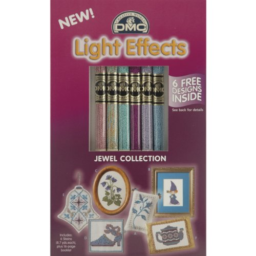 Dmc Light Effects Embroidery Floss - DMC 317WPK1 Light Effects Polyester Embroidery Floss, 8.7-Yard, Soft Jewels