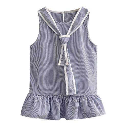 2019 Toddler Kids Baby Girls Summer Dress Stripe Sleeveless Party Princess Dresses (Blue, Age:2-3 Years)