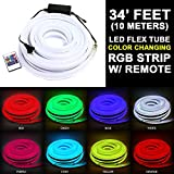 34' Feet LED Neon Flex Light Rope Party Home Decoration Waterproof Outdoor Multi-Color 10-Meters