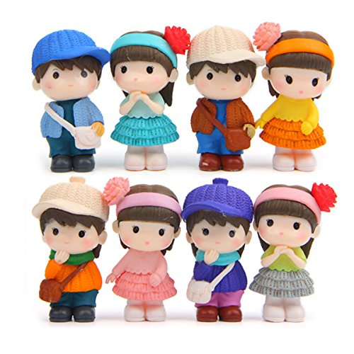 STEAM 8 Pcs Cute Boys Girls Couple Figures Playset, Cake Toppers, Cake Decoration ()