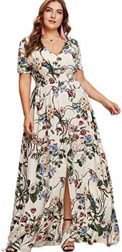 522c9ca732 Romwe Women s Plus Size Floral Print Buttons Short Sleeve Split Flowy Maxi  Dress