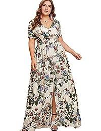 Women's Plus Size Floral Print Buttons Short Sleeve Split...