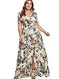 Romwe Women's Plus Size Floral Print Buttons Short Sleeve Split Flowy Maxi Dress Apricot 3XL