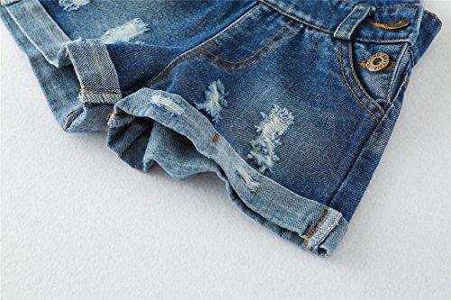 Chumhey Big&Little Girls 2Pc Big Bib Jeans Summer Shortalls Set T-Shirts,Blue,6-7 Years by Chumhey (Image #5)