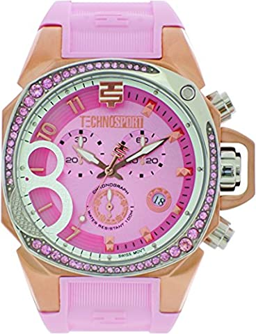 TechnoSport TS-103-6 Womens Light Pink Silicone Band, Gold Bezel, 40MM Pink Dial,Stainless Steel Chronograph (Gold Mercer Watch)