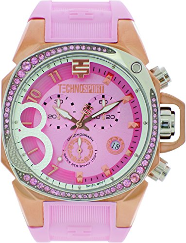 TechnoSport TS-103-6 Womens Light Pink Silicone Band, Gold Bezel, 40MM Pink Dial,Stainless Steel Chronograph Watch