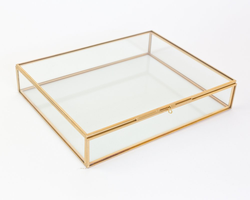The Queen of Crowns Glass Photo Box, Proof Box, Glass Shadow Box, Gold Glass Box (8x10) by The Queen of Crowns