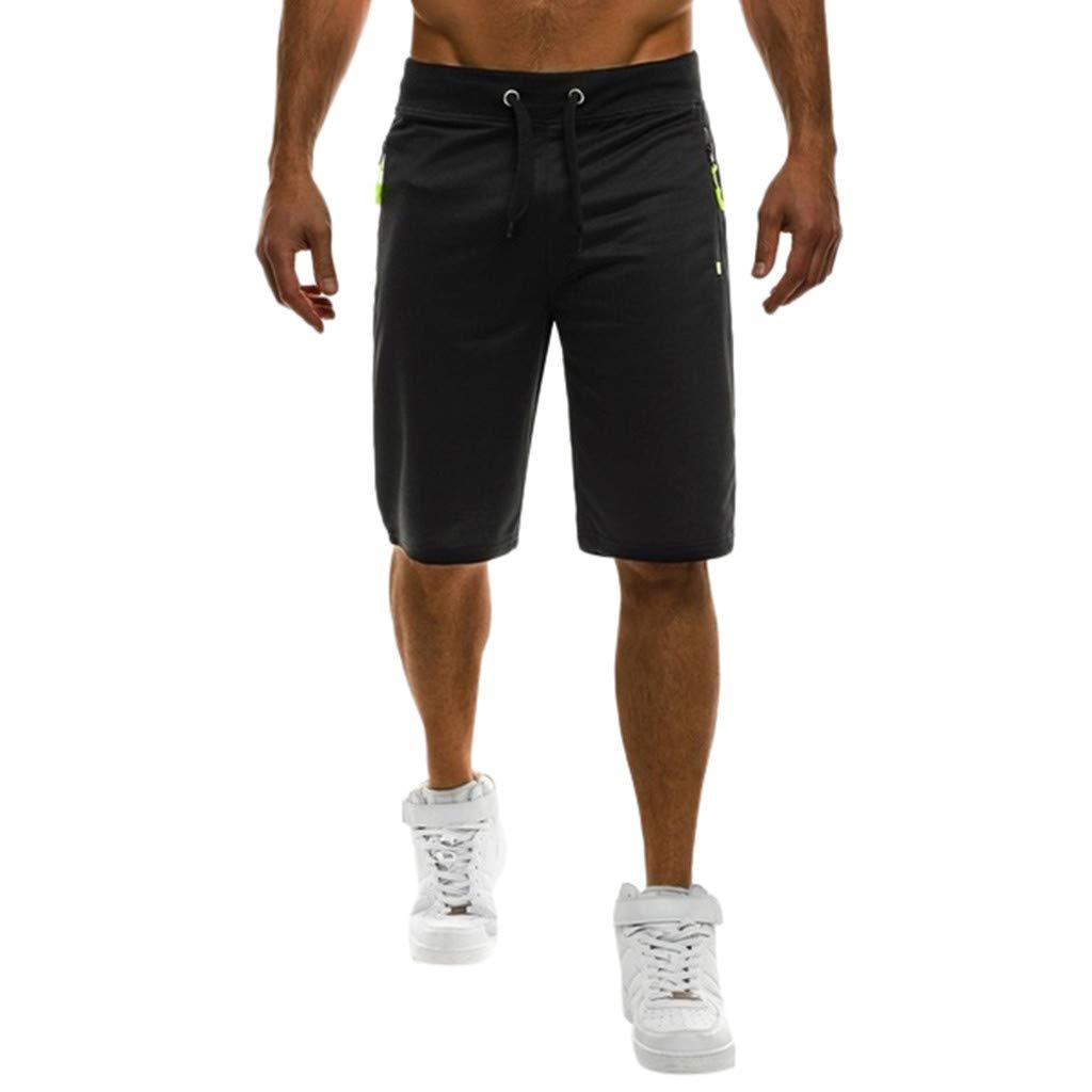 Summer Men's Drawstring Shorts - Casual Sport Slim Fit Solid Color Five-Point Short Pants with Zipper Pocket
