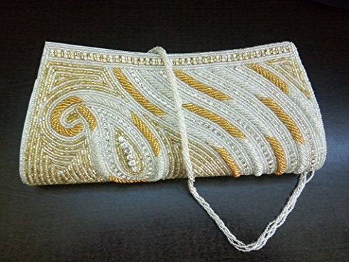 Gold Clutch | Gold Beaded Bag | Vintage style Bridal Clutch | Handmade Bag unique gift for your