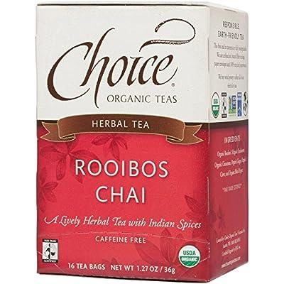 Choice Organic Teas Caffeine Free Herbal Tea, Rooibos Chai, 16 Count