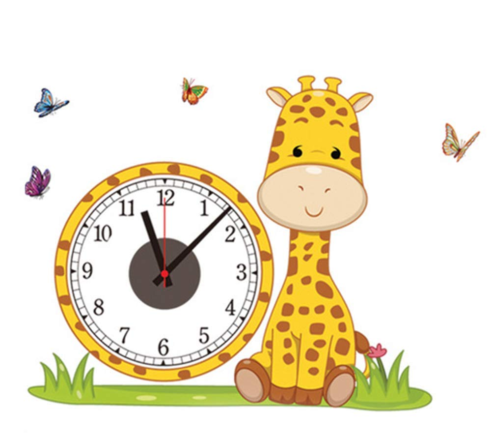 Chuangshengnet Creative Children Cartoon Wall Clock PVC Wall Sticker Wall Clock