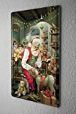 Tin Sign Christmas Decoration Santa Claus Workshop Rocking Horse Metal Plate 8X12