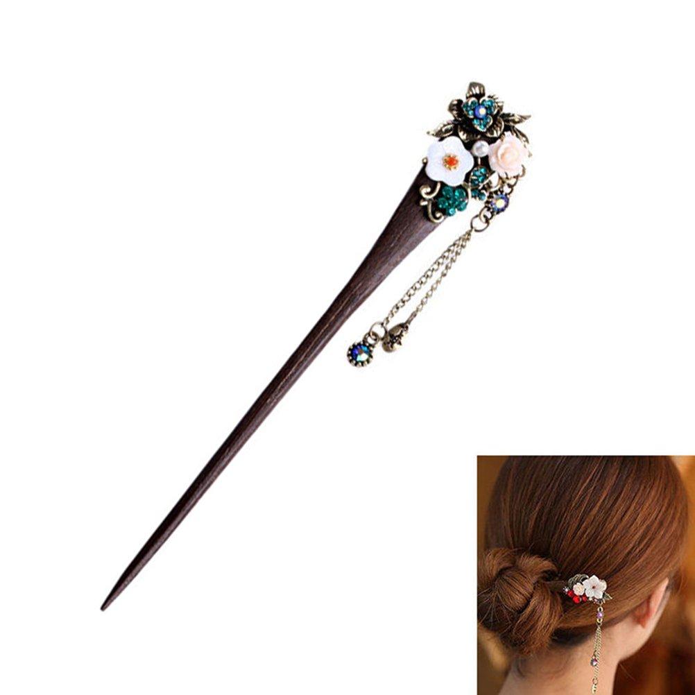 Frcolor, bastoncini per capelli di legno in stile cinese, con nappa retrò, per donne