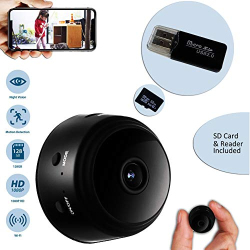 CROMINA Mini Spy Camera Wireless Hidden Home Apartment office Nanny Cam Cars Indoor Outdoor WiFi Security 1080P Night Vision Motion Detection Live Streaming iPhone/Android Phone iPad PC Video Recorder