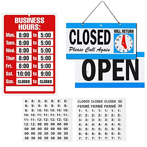 Open Closed Sign & Business Hour Sign Kit Set, Bundle of Office Hours Sign Will Return Clock Ideal Store Signs for Door Window Businesses Stores Restaurants Bars Retail Barbershop Salon Shops Club Hot ()