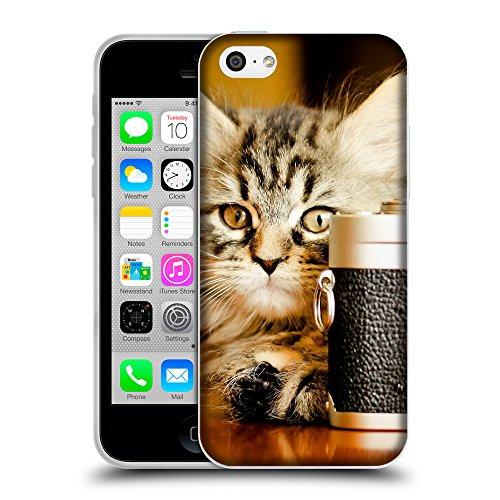 Just Phone Cases Coque de Protection TPU Silicone Case pour // V00004275 Chaton prend une photo // Apple iPhone 5C