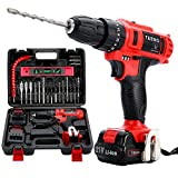TEENO 21V MAX Impact 3/8″ Cordless Drill Driver set with 2 Lithium Ion Batteries 1500mAh, 1Hr Fast Charger, 25pcs Accessories Included, Impact Fanction