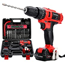 """TEENO 21V MAX Impact 3/8"""" Cordless Drill Driver set with 2 Lithium Ion Batteries 1500mAh, 1Hr Fast Charger, 25pcs Accessories Included, Impact Fanction"""