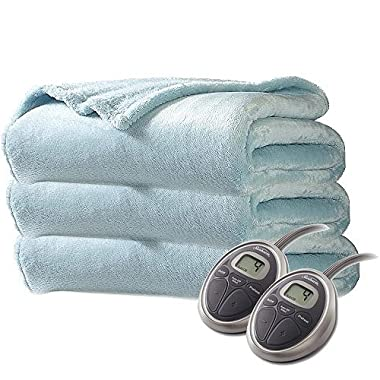 Sunbeam Premium Soft Queen Velvet Plush Heated Blanket with 20 Heat Settings, Ice Blue