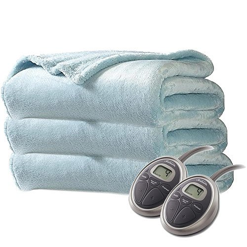 Sunbeam Luxurious Velvet Plush KING Heated Blanket with 20 Heat Settings, Auto-off, 2-Digital Controllers, 5 Yr Warranty (Surf Blue)