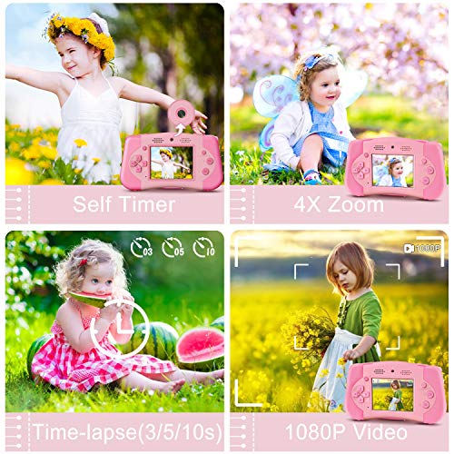 PROGRACE Kids Camera Portable Handheld Console Game for Toddler 4-12 Year Old Girls Boys Toy Gifts Children Camera for Kids Support 4000+ Games Music Selfie Kids Digital Video Camera 12M 2.4Inch(Pink)