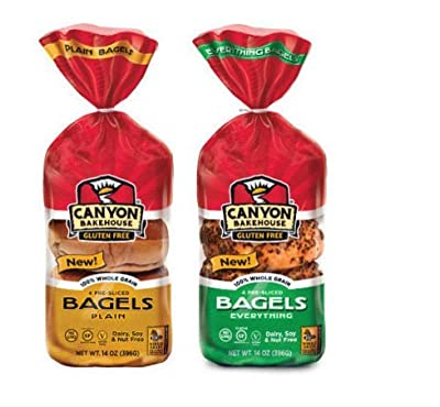 Canyon Bakehouse Gluten Free Bagel Variety Pack (Plain Bagel and EverythingBagel)